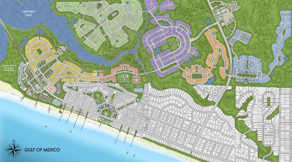 Map Of Watercolor Florida Watercolor Community Map